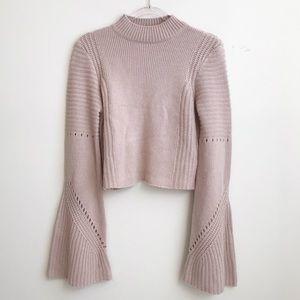TOBI light pink bell sleeves crop sweater size S